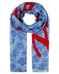 blauer Schal mit Blumenmuster von Tommy Hilfiger