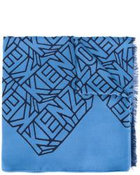 blauer Seideschal von Kenzo