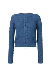 blauer Spitze Pullover mit einem Rundhalsausschnitt von See by Chloe