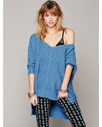 blauer Strick Oversize Pullover