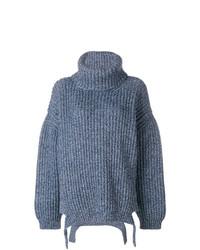 blauer Strick Oversize Pullover von Balenciaga