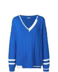 blauer Strick Oversize Pullover von Miu Miu