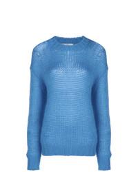 blauer Strick Oversize Pullover von Prada
