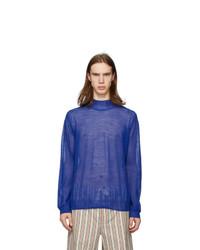 blauer Strick Wollrollkragenpullover