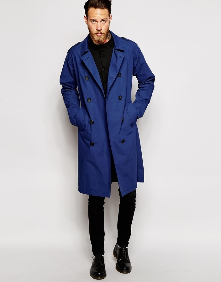Blauer Trenchcoat Von Asos 85, Asos Trench Coat Men