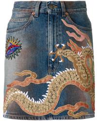 blauer verzierter Jeans Minirock von Gucci