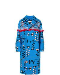 blauer verzierter Mantel von Marni