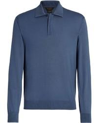 blauer Wollpolo pullover von Ermenegildo Zegna