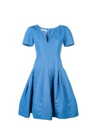 blaues ausgestelltes Kleid von Oscar de la Renta