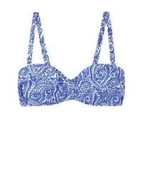 blaues bedrucktes Bikinioberteil von Mango