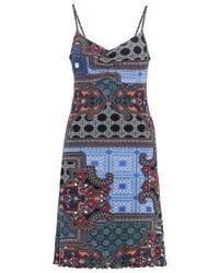 blaues bedrucktes Camisole-Kleid von Anna Field