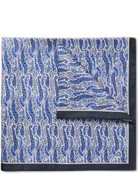 blaues bedrucktes Einstecktuch von Dunhill