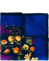 blaues bedrucktes Einstecktuch von Kiton