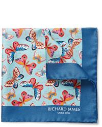 blaues bedrucktes Einstecktuch von Richard James