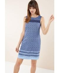 blaues bedrucktes gerade geschnittenes Kleid von NEXT
