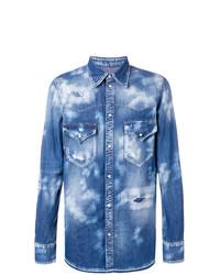blaues bedrucktes Jeanshemd von DSQUARED2