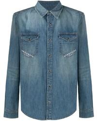 blaues bedrucktes Jeanshemd von Givenchy