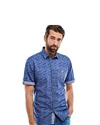 blaues bedrucktes Kurzarmhemd von ENGBERS