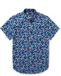 blaues bedrucktes Kurzarmhemd von J.Crew