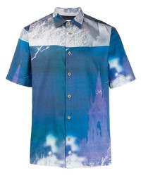 blaues bedrucktes Kurzarmhemd von Paul Smith