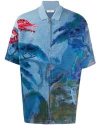 blaues bedrucktes Kurzarmhemd von Valentino