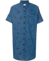 blaues bedrucktes Kurzarmhemd von Vans