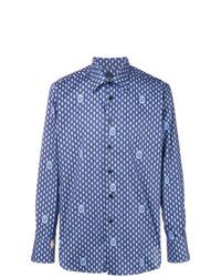 blaues bedrucktes Langarmhemd von Billionaire