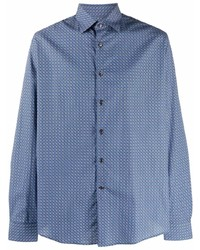blaues bedrucktes Langarmhemd von Salvatore Ferragamo