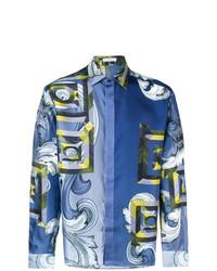 blaues bedrucktes Langarmhemd von Versace Collection