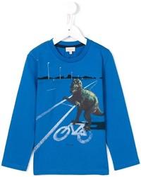 blaues bedrucktes Langarmshirt von Paul Smith