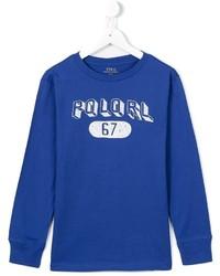 blaues bedrucktes Langarmshirt von Ralph Lauren