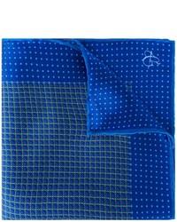 blaues bedrucktes Seide Einstecktuch von Canali