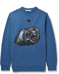 blaues bedrucktes Sweatshirt