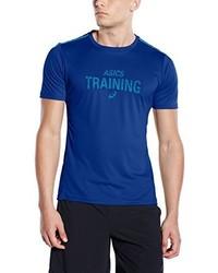 blaues bedrucktes T-Shirt mit einem Rundhalsausschnitt von Asics