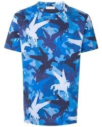 blaues bedrucktes T-Shirt mit einem Rundhalsausschnitt von Etro