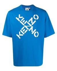blaues bedrucktes T-Shirt mit einem Rundhalsausschnitt von Kenzo