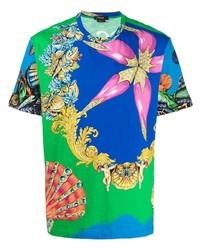 blaues bedrucktes T-Shirt mit einem Rundhalsausschnitt von Versace