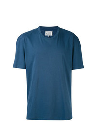 blaues bedrucktes T-Shirt mit einem Rundhalsausschnitt von Maison Margiela