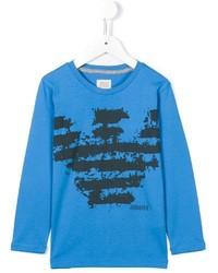 blaues bedrucktes T-shirt von Armani Junior
