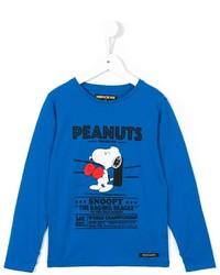 blaues bedrucktes T-shirt von Finger In The Nose