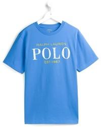 blaues bedrucktes T-shirt von Ralph Lauren