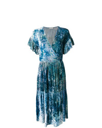 blaues bedrucktes Wickelkleid von Masscob