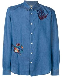 blaues besticktes Jeanshemd von Paul Smith