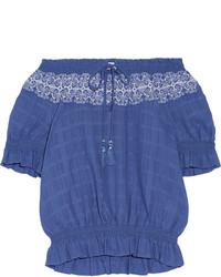 blaues besticktes schulterfreies Oberteil von Tory Burch