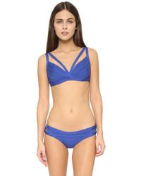 blaues Bikinioberteil von Herve Leger