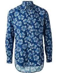 blaues Businesshemd mit Blumenmuster