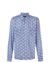 blaues Businesshemd mit Blumenmuster von Dell'oglio