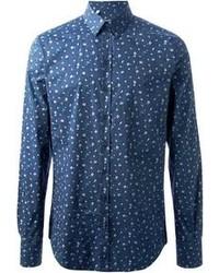 blaues Businesshemd mit Blumenmuster von Dolce & Gabbana