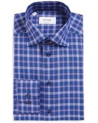 blaues Businesshemd mit Schottenmuster