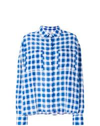 blaues Businesshemd mit Schottenmuster von Natasha Zinko